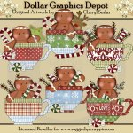Gingerbread Christmas Teacups - Clip Art