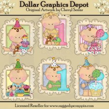 Baby's First Birthday Doodle Frames - Clip Art