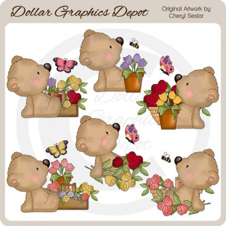 Sampson Bear Loves Flowers - Clip Art