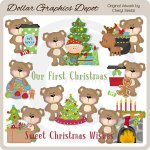 Fluffy Christmas Bears - Clip Art - *DGD Exclusive*