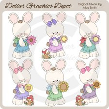 Spring Bunnies and Flowers - Clip Art - *DGD Exclusive*