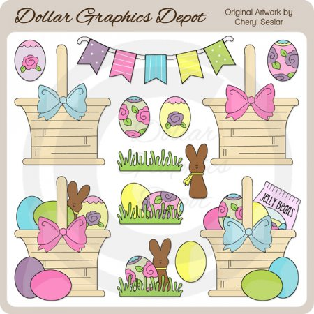 Pretty Easter Baskets 1 - Clip Art