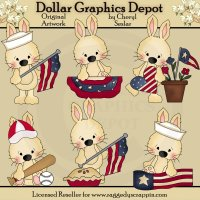 All American Bunnies - Clip Art
