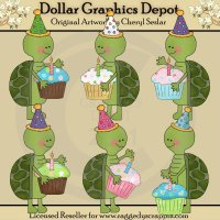 Silly Turtles - Cupcakes - Clip Art