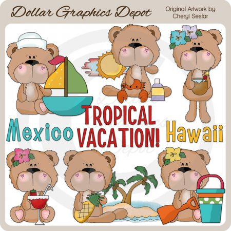 BoBo and Babs Bears Tropical Vacation - Clip Art