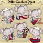 Elephant and Friends - Americana - Clip Art