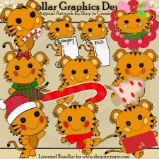 Christmas Tigers - Clip Art
