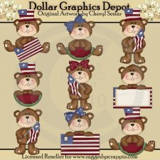 Little Americana Bears - Clip Art - *DGD Exclusive*