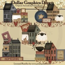 Prim Saltbox Houses - Clip Art