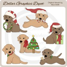 Christmas Lab Pups - Clip Art - *DCS Exclusive*