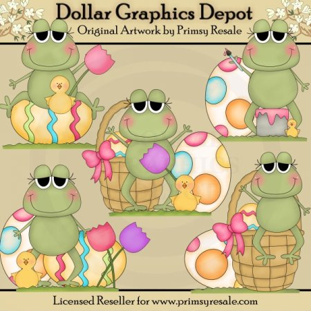 Easter Frogs 1 - Clip Art