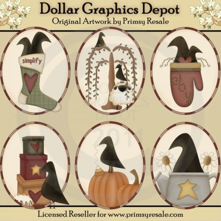 Seasonal Crows - Ovals - Clip Art