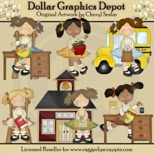 Elementary Girls - Clip Art - *DGD Exclusive*