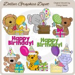 Birthday Safari Animals - Clip Art - *DGD Exclusive*