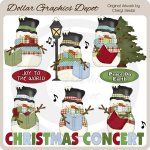 Country Snowmen - Christmas Concert - Clip Art