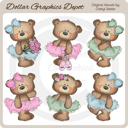 Button Bears - Ballerinas - Clip Art