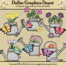 Pretty Butterfly Watering Cans - Clip Art
