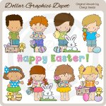 Little Easter Kids 1 - Clip Art