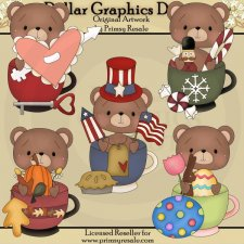 Seasonal Bear Mugs - Clip Art