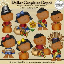 Thanksgiving Tots 2 - Clip Art