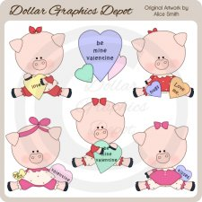 Valentine Piggies - Clip Art - *DGD Exclusive*