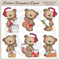 Button Bears - Christmas - Clip Art