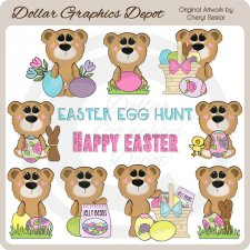 Big Eyed Bears - Easter - Clip Art - *DGD Exclusive*