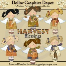 Harvest Blessing Angels - Clip Art - *DGD Exclusive*