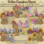 Fuzzy Cubs Flower Baskets - Clip Art