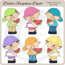 Sweet Watermelon Kids - Clip Art - *DGD Exclusive*