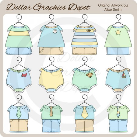Baby Boy Outfits 2 - Clip Art - *DGD Exclusive*