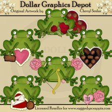 Little Frogs - Valentines - Clip Art