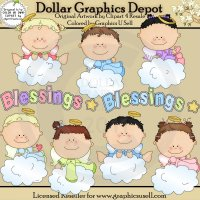 Baby Angel Blessings 1 - Clip Art
