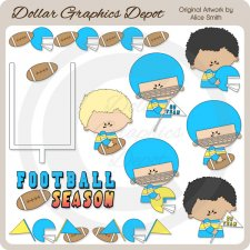 Football - Blue - Clip Art