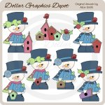 Snowmen and Birdhouses - Clip Art - *DGD Exclusive*