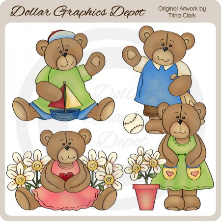 Summer Cutie Bears - Clip Art