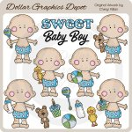 Cutie Pie Baby Boys 1 - Clip Art