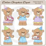 Birthday Cake Bears - Clip Art - *DGD Exclusive*