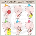 Birthday Piggies - Clip Art