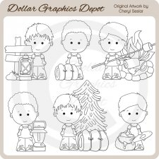 Linus and Pals - Camping - Digital Stamps