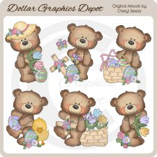 Button Bears - Easter - Clip Art