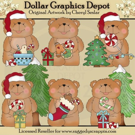 Benny Bear Loves Christmas - Clip Art
