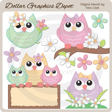 Pretty Spring Owls - Clip Art - $1.00 : Dollar Graphics ...