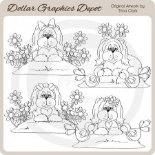 Summer Puppies - Digital Stamps