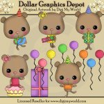 Chibi Birthday Party Bears - Clip Art