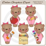 School Bears - Girls - Clip Art