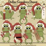 Christmas Frogs - Clip Art