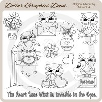Valentine Owls 1 - Digital Stamps