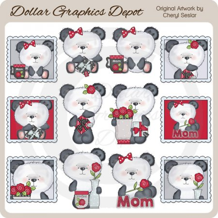 Mother's Day Pandas - Clip Art