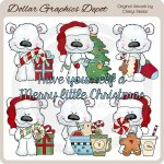 Scruffy Polar Bear - Merry Christmas - Clip Art